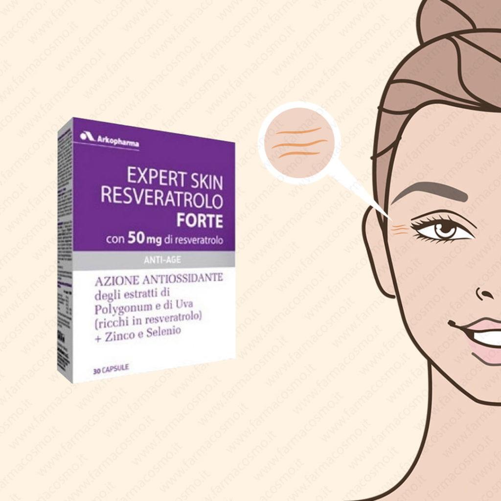 ARKOPHARMA - Expert Skin Resveratolo Forte - Integratore Antiossidante 30 Capsule
