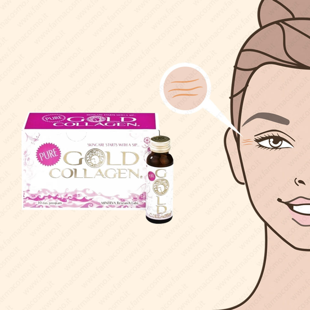 MINERVA RESEARCH - Pure Gold Collagen - Integratore Alimentare A Base Di Collagene 10 Flaconcini Da 50 Ml